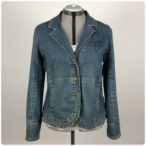 Cato Fitted Denim Jacket w/ Embroidery